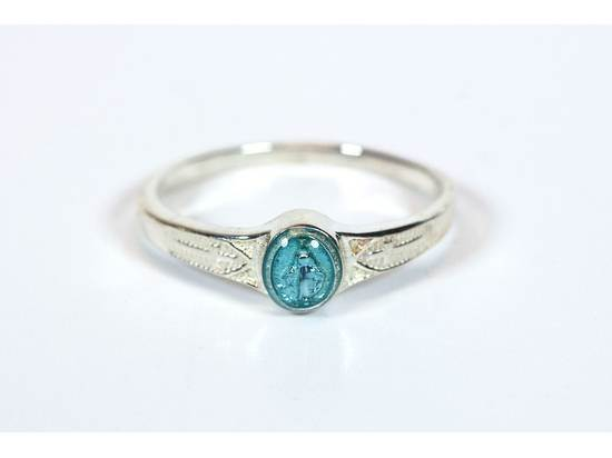 Sterling Silver Miraculous Ring w/Blue Epoxy, Child's Size 3