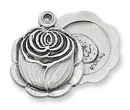 "Sterling Silver Miraculous Rosebud Medal on 18"" chain"