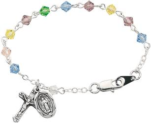 Sterling Silver Multicolored Crystal Baby Bracelet