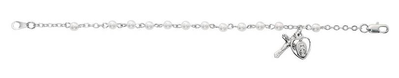 Sterling Silver Pearl Bracelet With Miraculous