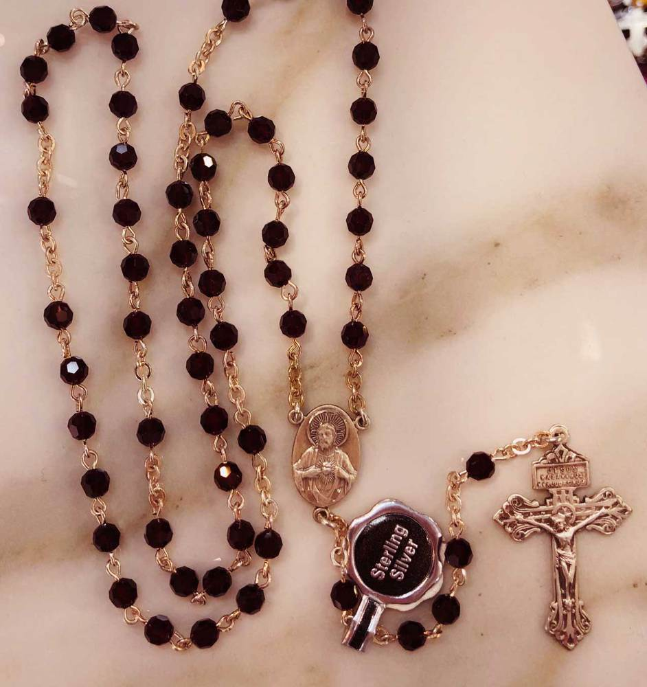 5mm Garnet Rosary With Swarovski Beads Sterling Center & Crucifix/Gift Boxed