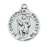 "Sterling Silver Round St. Christopher Medal on 24"" chain"