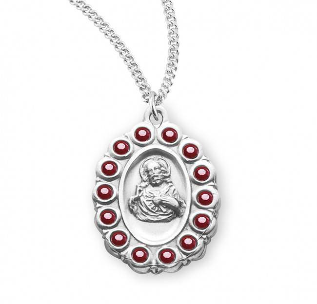 "Sterling Silver Scapular Medal with Swarovski Ruby Crystals on 18"" Chain"