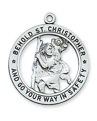 "Sterling Silver St. Christopher Medal on 24"" Chain"