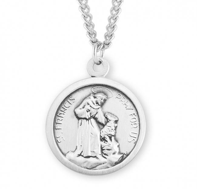"St. Francis with Dog Sterling Silver Medal on 24"" Chain"