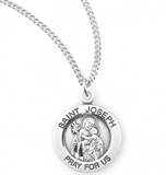 "Sterling Silver St. Joseph Medal on 18"" Chain"