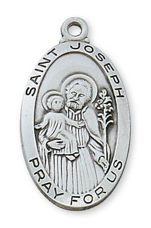 "Sterling Silver St. Joseph Medal on 24"" chain"