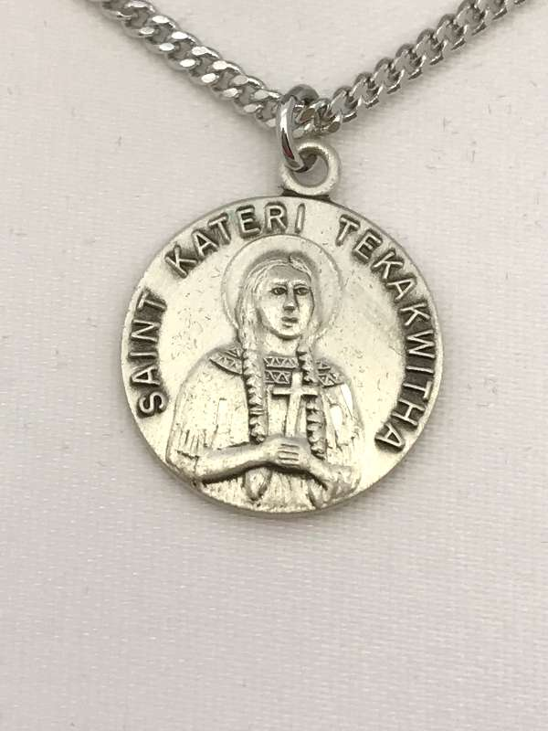 "St. Kateri Tekakwitha Sterling Silver Medal on 18"" Chain"