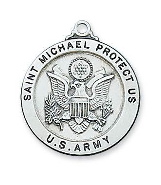 Sterling Silver St. Michael Army Medal