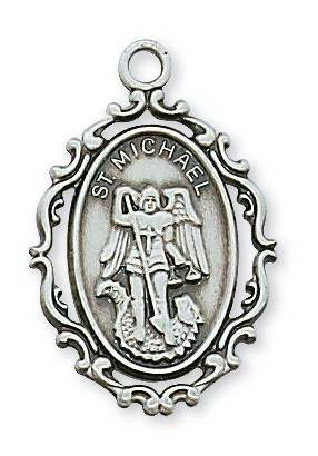"Sterling Silver St. Michael Medal on 18"" Chain"