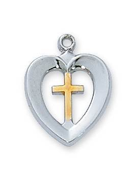 Sterling Silver Two-Tone Heart Cross