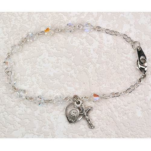Sterling Silver and Crystal Rosary Bracelet
