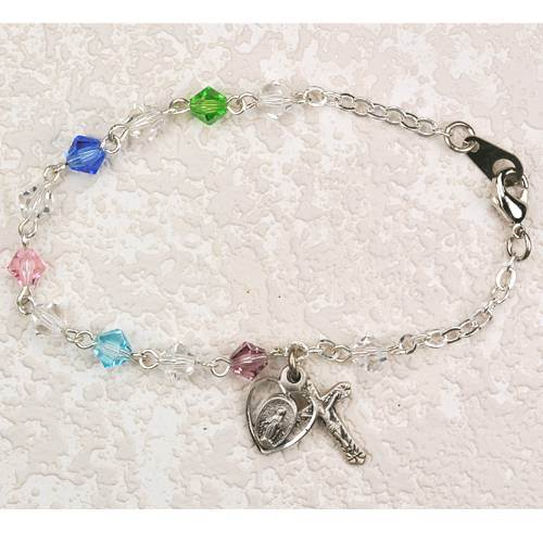 Sterling Silver and Multi Colored Crystal Bracelet