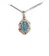 Miraculous Sterling Small Blue Baroque Medal on Chain
