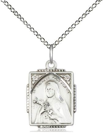 "St. Therese Sterling Silver Rectangle Medal on 18"" chain"