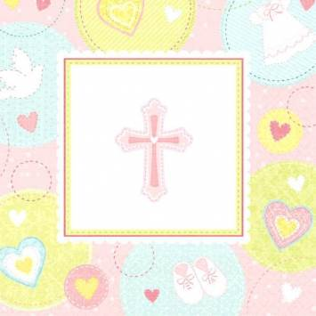 Sweet Christening Pink Beverage Napkins