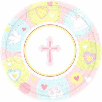 Sweet Christening Pink Dinner Plates first communion decorations, first communion party supplies, sacramental decorations, communion party, paper products, party supplies, plates, large plates, dinner plates, pink plates,579422