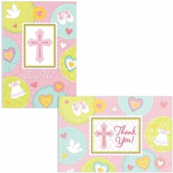 Sweet Christening Pink Invitations and Thank You Cards