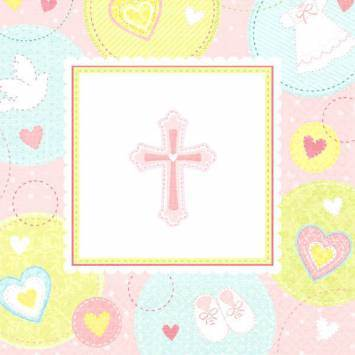 Sweet Christening Pink Luncheon Napkins first communion decorations, first communion party supplies, sacramental decorations, communion party, paper products, party supplies, napkins, luncheon napkins, pink napkins,519422