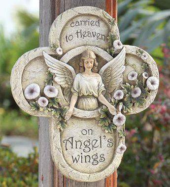 Sympathy Angel Plaque angel plaque, outdoor plaque, memorial plaque, cross plaque, stone/resin mix, 17336