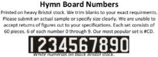 "TS10023 Hymn Board Numbers ""G"" 60 Pieces"