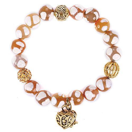 Tan/White Agate & Quartz Prayer Box Bracelet