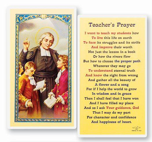 Teacher's Prayer Laminated Prayer Card