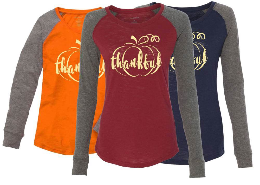 Thankful Ladies Long Sleeve Preppy Patch Tee