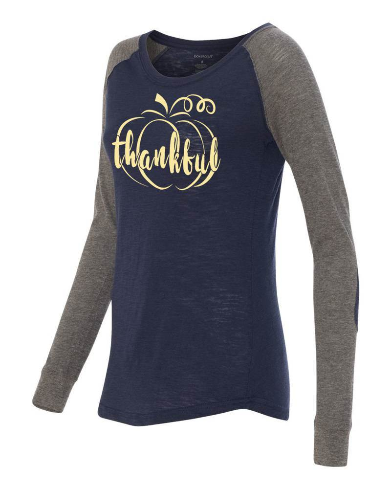 Thankful Ladies Long Sleeve Preppy Patch Tee - PT14101