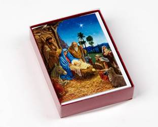 The Manger Deluxe Boxed Christmas Cards, 15 Cards with 16 Gold Foil Envelopes