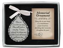 Those We Love Dont Go Away Memorial Ornament with Crystal Stones and White Ribbon