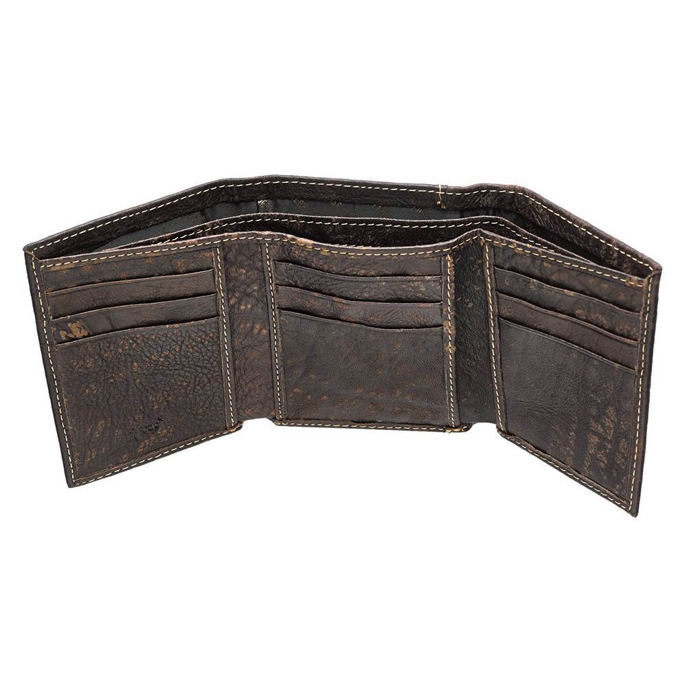 Three Crosses on Brown Leather Wallet