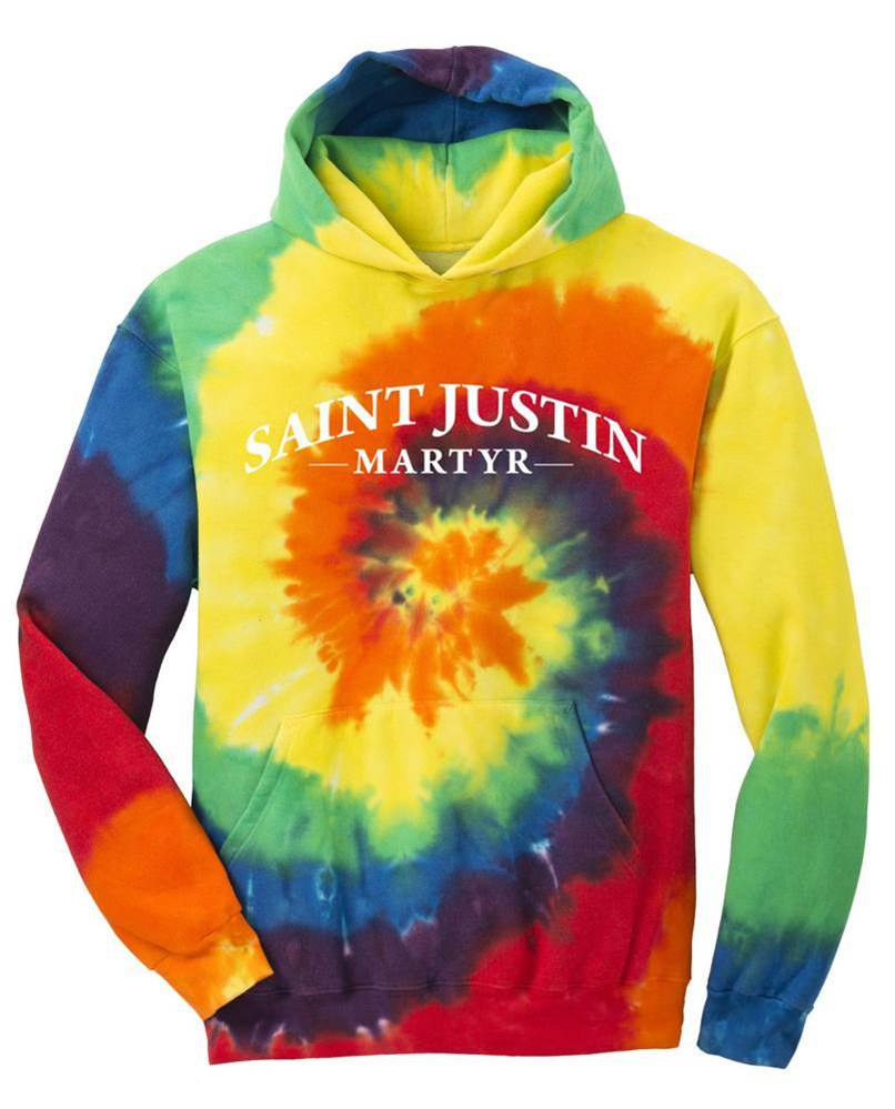 Tie Dye SJM Spiritwear Hoodie with White Logo