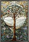 "Tiffany Tree of Life Stain Glass Art Hanging, 9.3"" x 13.3"""