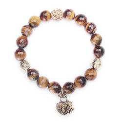 Tiger Eye Agate & Quartz Prayer Box Bracelet