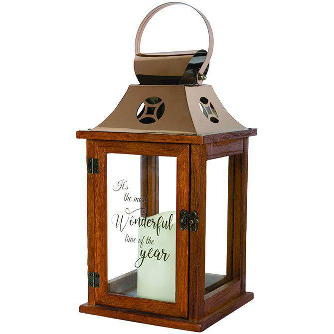 Time of the Year LED Wood Lantern