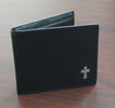 Trifold Leather Wallet With Cross