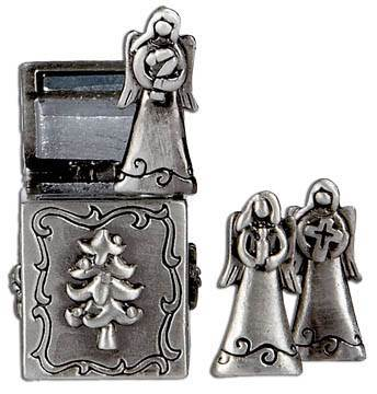 Triple Angels Prayer Box Charm angel charms, box charm, necklace, braclet, keyring, poket token, christmas gift, prayer gift, EX13341