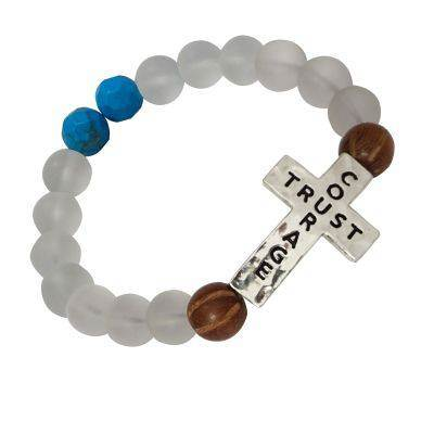 Trust/Courage Stretch Cross Bead Bracelet