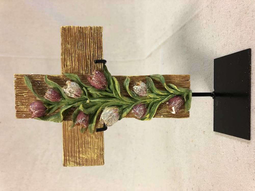 Tulips Cross with Stand | CATHOLIC CLOSEOUT