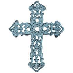 Turquoise Sunflower Cast Iron Wall Cross