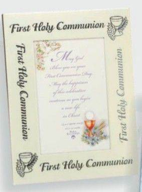 Two-Toned First Communion Frame frame, first communion frame, holy communion, picture frame, photo frame, holy eucharist gift,  porcelain frame,23288