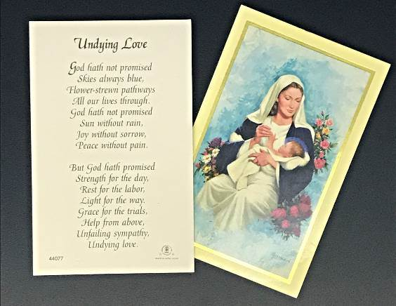 Undying Love Prayercard 100/PK