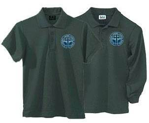 Unisex Hunter Green Pique Knit Polo Shirt with SCL Logo