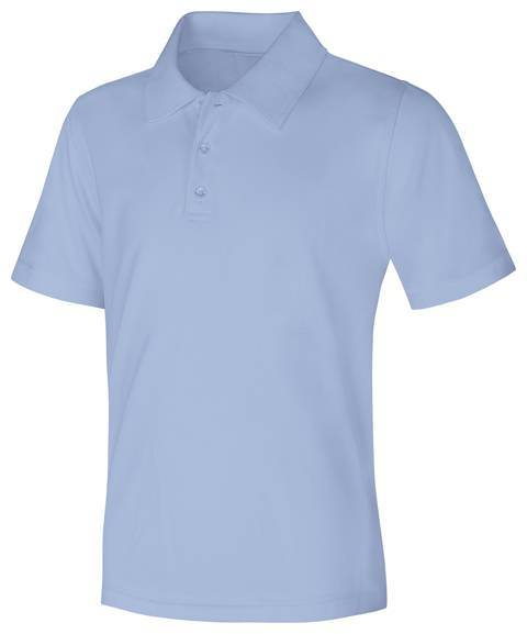 Unisex Light Blue Performance Knit Polo, Short Sleeve