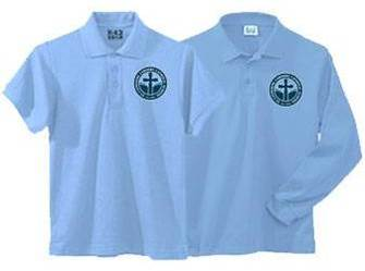 Unisex Light Blue Pique Knit Polo Shirt with SCL Logo