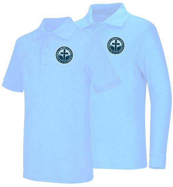 Unisex Light Blue Smooth Interlock Knit Polo Shirt with SCL Logo