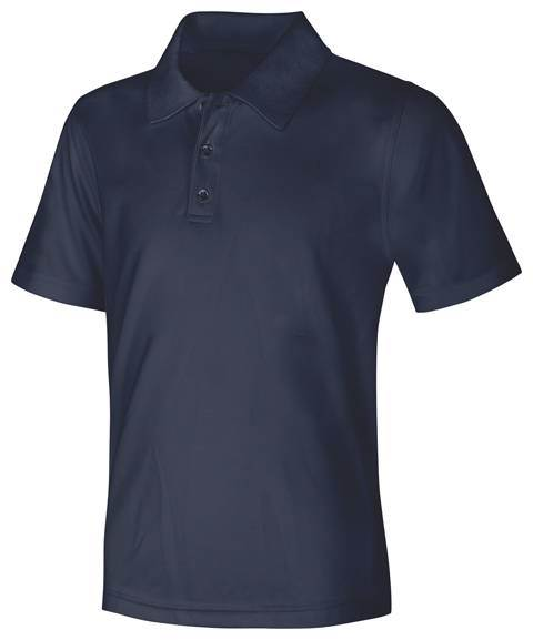 Unisex Navy Performance Knit Polo, Short Sleeve