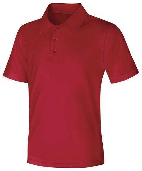 Unisex Red Performance Knit Polo, Short Sleeve