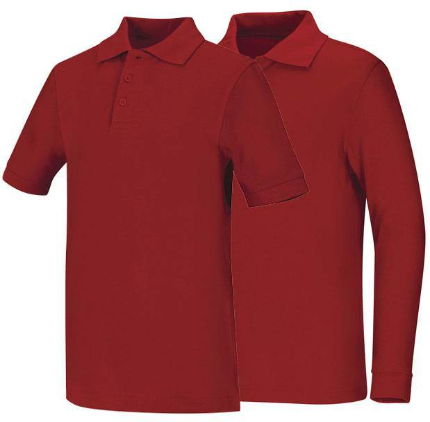 Unisex Red Pique Knit Polo Shirt
